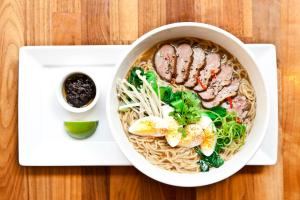 DUCK RAMEN, EGG, ENOKI MUSHROOMS, BOK CHOY