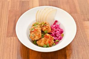 MONKFISH FRITTERS WITH CARAMEL SAUCE, ASIAN PEAR, RED CABBAGE SLAW