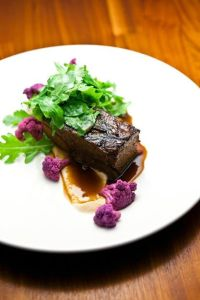 Pho braised short ribs, pickled purple cauliflowers, coconut and cauliflower purees