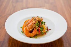 SALT & PEPPER PRAWNS smoked papaya salad, jackfruit, dried shrimp, nuoc cham dressing