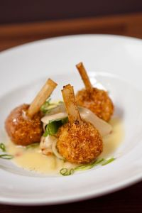 lobster fritter on sugar cane